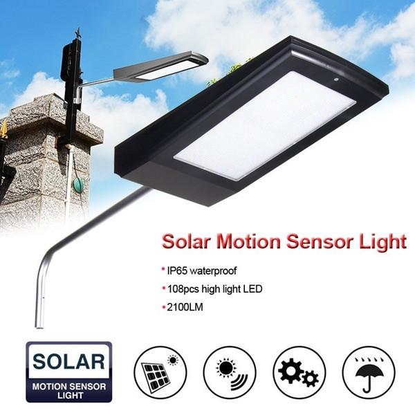 top popular New 108 LEDs 2100LM Solar Powered Radar Motion Sensor Wall Light Outdoor Waterproof Energy Saving Lamp Street Yard Path Garden 2019