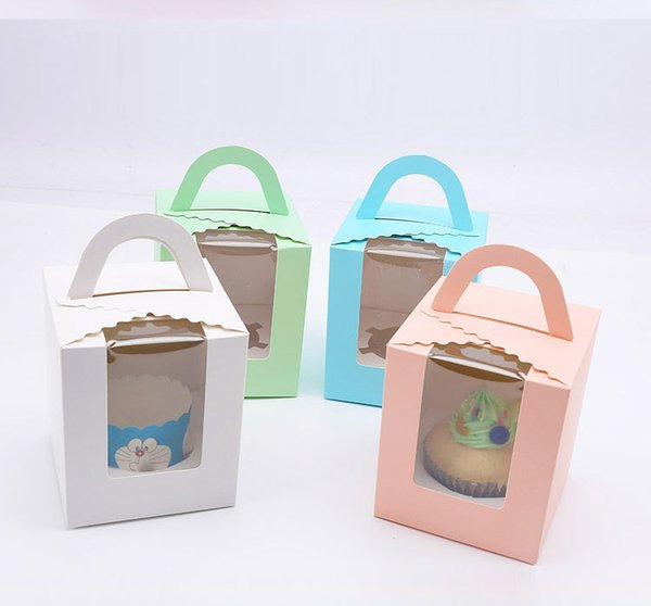 100pcs 11x9.5x9cm(4.3x3.7x3.5inch) Pink Green Kraft Paper cupcake boxes with handle window cake Gift Packaging Wedding Birthday home Party