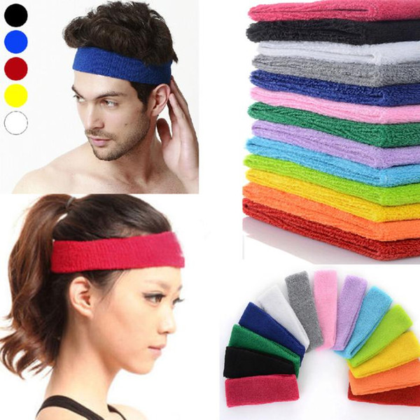 High quality NEW Cotton Women Men Sport Sweat Sweatband Headband Yoga Gym Stretch Head Band Hair