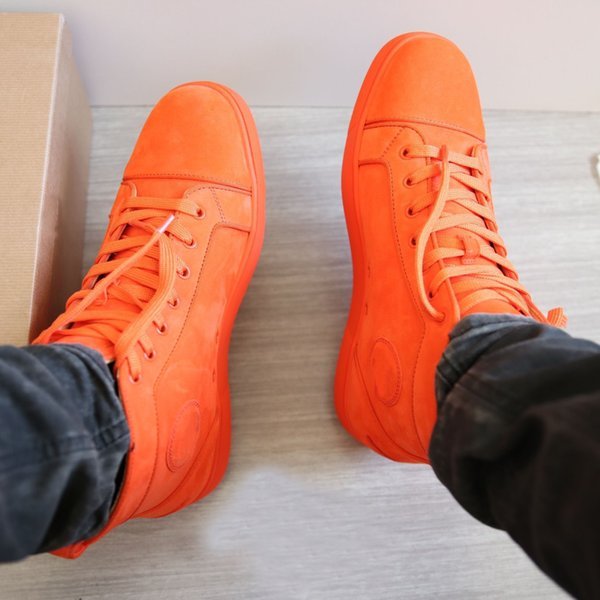 Súper Calidad Naranja Suede Leather Sneakers Shoes Red Bottom Mujeres / Hombres Moda Hightop Casual Walking Party Dress Entrenador Tamaño 35-47