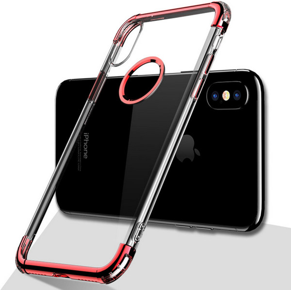 Plating Case for iPhone xs max xr x 8 plus Luxury Chrome Transparent TPU Gel Anti Fall Mobile Phone Back Cover Case for iphone 6 6s 7 plus