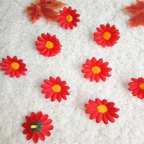 BRICOLAGE Artificielle Fleur Tête Décoration De Noël Tournesols Maison Petite Marguerite Fleurs De Soie Chrysanthème Soleil pour Décorations De Fête