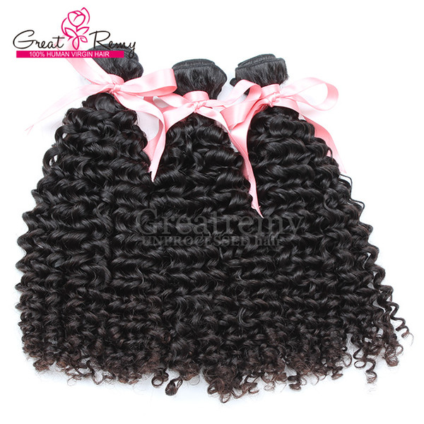 """100 Chinese Human Hair Weave Double Weft Extensions 8""""~30"""" Curly Wave Unprocessed Virgin Hair Natural Color Dyeable 7A Retail 3pcs Greatremy"""