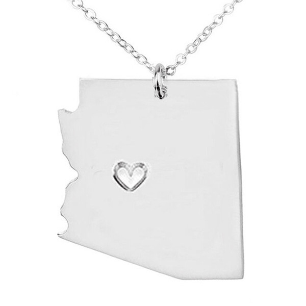 Wholesale Arizona Us State Diy Map Stainless Steel Charm Pendant - Us state map diy photos