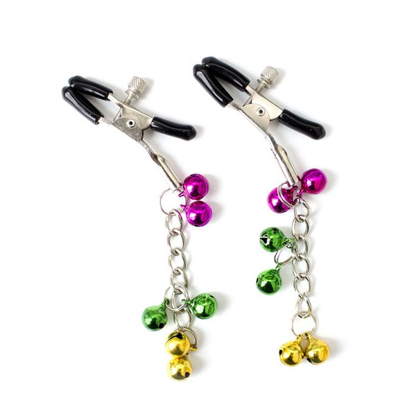 Valentine's day gifts metal sexy breast nipple clamps clips with 6 bells adult game flirting sex toys for women men couples