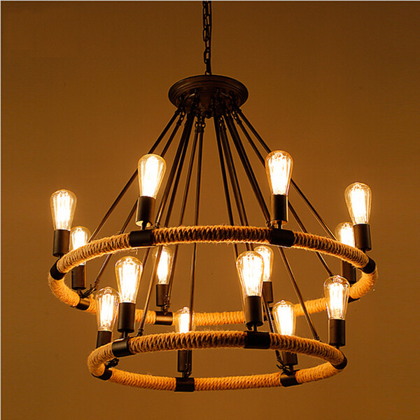 2016 Original Vintage Rope Industrial Style Light Retro Edison Bulb Lamps E27 Wicker Pendant Iron Lights Hotel Bar Lighting Fixtures Pendant Light