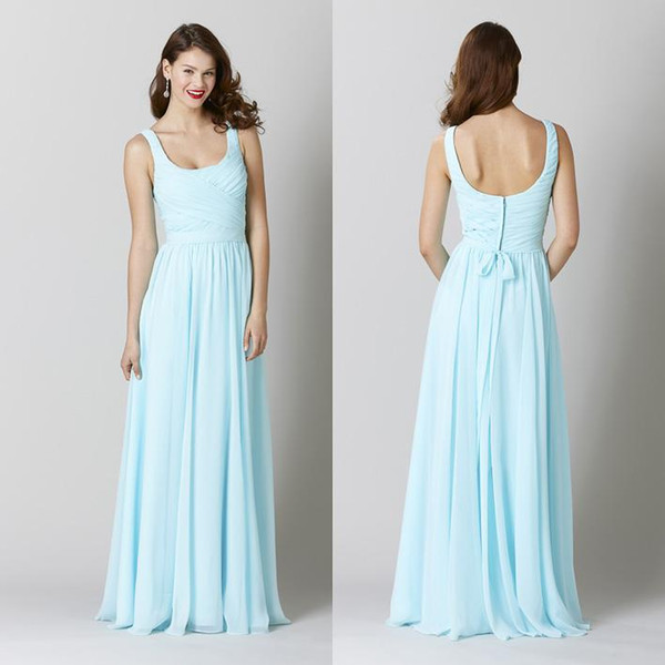 Free Shipping Long Light Sky Blue Bridesmaid Dresses Scoop Floor Length Chiffon Prom Dresses Cheap Wedding Guest Reception Evening Gowns
