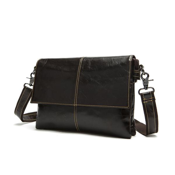 Wholesale-Genuine Leather Vintage Men Bags Brand New tote shoulder laptop men's travel bag Real Genuine leather men bag Briefcase new