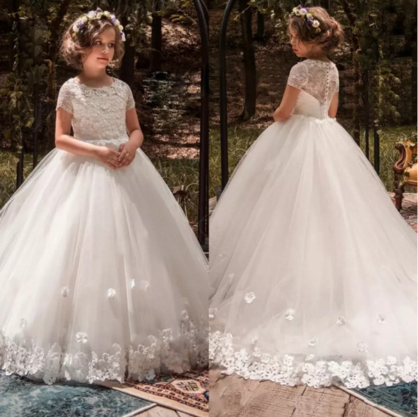 White Lace Flower Girls Dresses Short sleeves 3D Floral Appliqued Lace Little Kids Birthday party dress