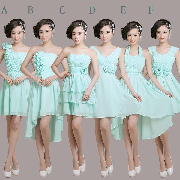 Strapless curto chiffon vestido de dama de honra júnior 2016 rendas até vestido de dama de honra 6 estilo ordem mista transporte rápido