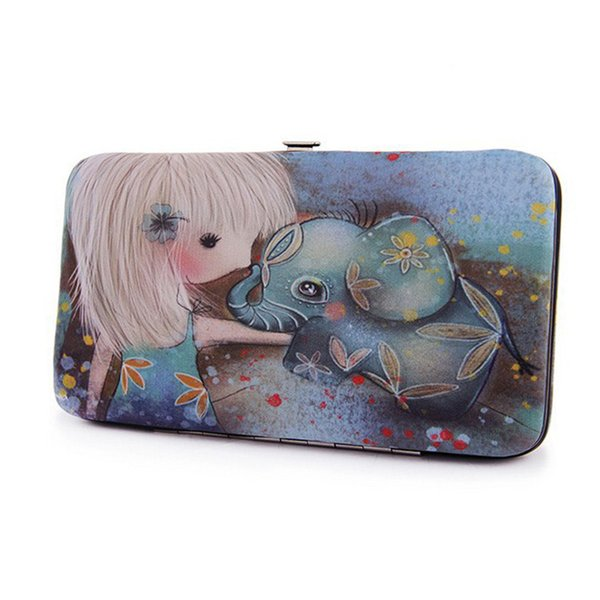 Cute Girl & Elephant Printing Ladies Clutch Wallet Leather Lunch Box Designer Long Wallet Vintage Women Handy Bag Purse For Iphone 6 Plus