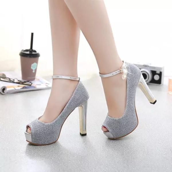 Femmes Pompes Violet Argent Chaussures De Mariage Plate-Forme Talon Stiletto Glitter Chaussures Femmes Robe De Bal Parti Haut Talon Chaussures