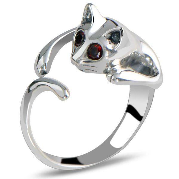 Rings for Women Lovely Adjustable Kitten Cat Animal Crystal Silver Gold Plated Alloy Rings