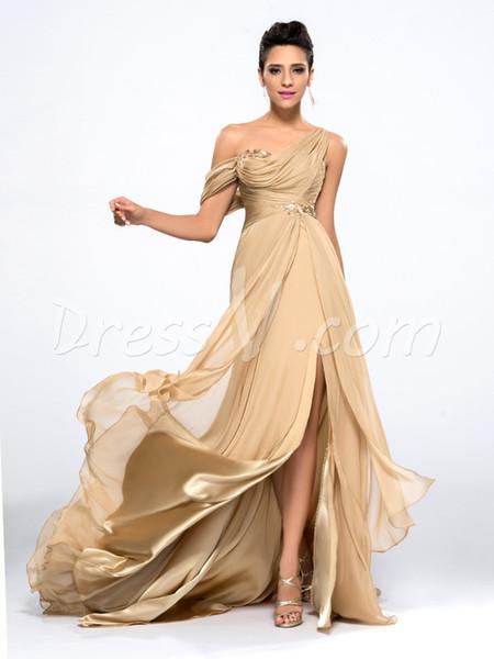2019 más nuevos vestidos de noche de champán baratos drapeados un hombro largo gasa vestidos de baile Robe de Soiree Vestidos de fiesta formales Robe de soiree