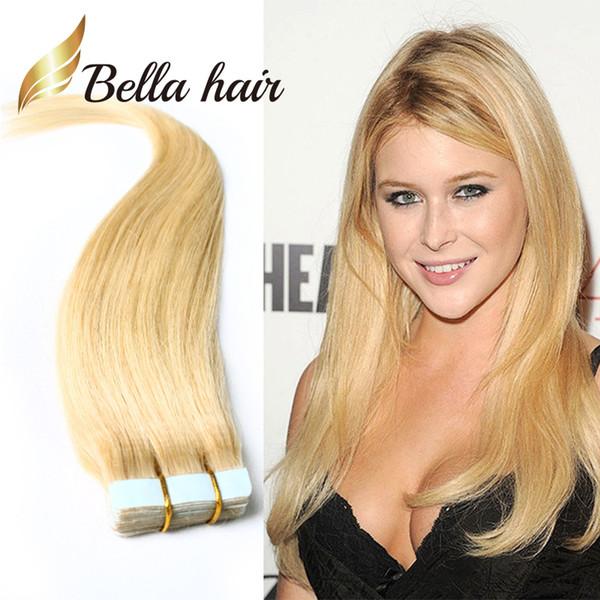#613 PU кожа уток наращивание волос 100% бразильский человеческих волос 2.5 г/шт 40 шт./компл. ленты в наращивание волос прямой Bellahair