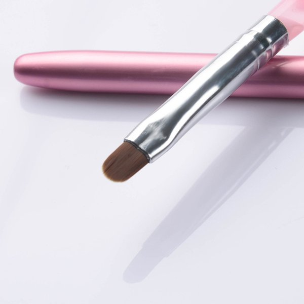 Wholesale- 1Pc NO.6 Acrylic Nail Art UV Gel Painting Pen Drawing Brush with Cap Pink UV Gel Manicure Tool