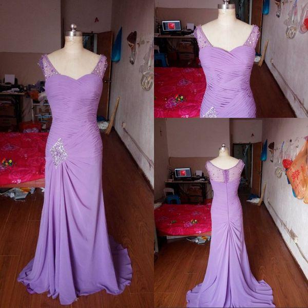 Best Selling Mermaid V-neck Floor Length Turquoise Chiffon Cap Sleeve Prom Dresses Beaded Pleats bridesmaid dresses Formal Evening Dresses