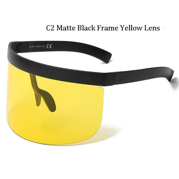 C2 Matte Noir Cadre Jaune Lentille