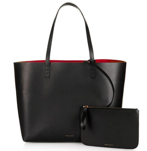 Women Shopper Large Tote Bag Black Shoulder Hand Bag with Small Mini Purse Designer Handbag Genuine Real Leather