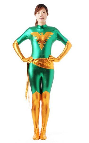 Metallic-Gold und grünes Lycra Shiny X-Men Jean Dark Phoenix Zentai Bodysuit Strumpfhosen Catsuit