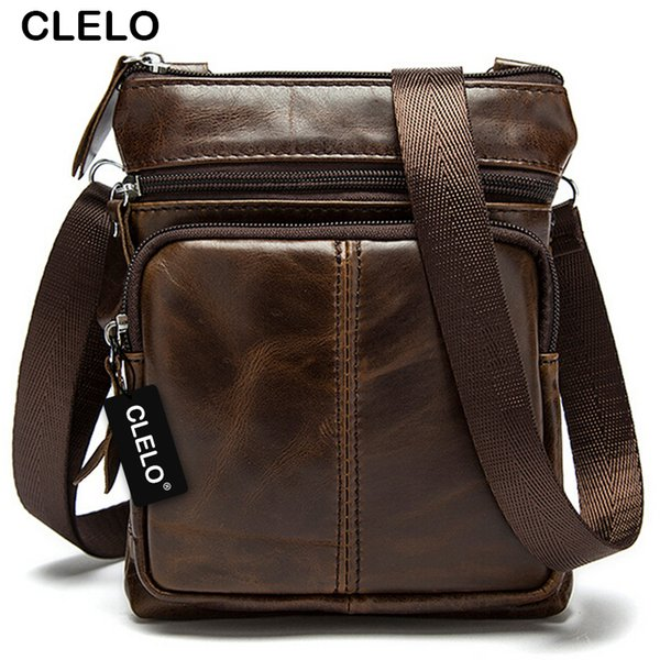 Wholesale- CLELO 2016 new arrival genuine leather mens Messenger Bags bag high quality hot sale simple and thin