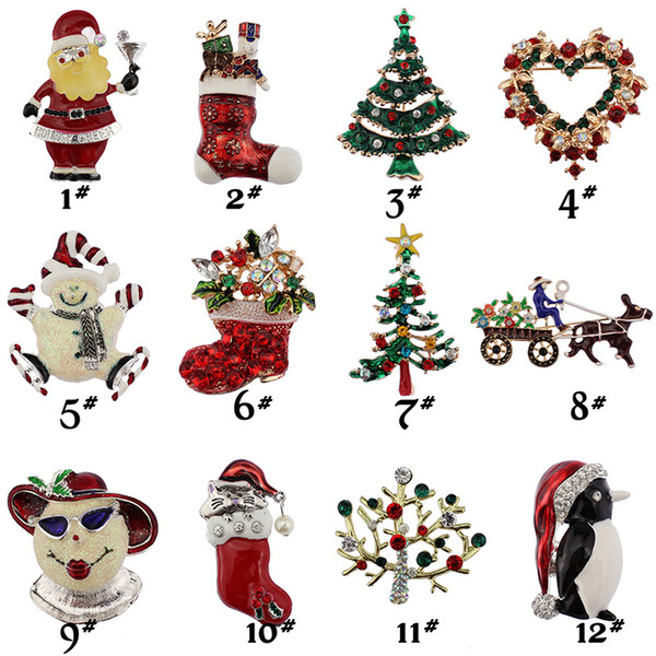 New Christmas brooches rhinestone enamel crystal snowman tree Shoes Bells penguin Apparel Brooch Pins For women's Fashion Jewelry Gift