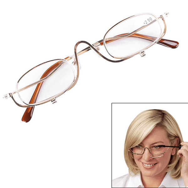 Womens MakeUp Magnifying Make Up Eyes Glasses Spectacles Flip Down Lens +1.0-4.0 E00842