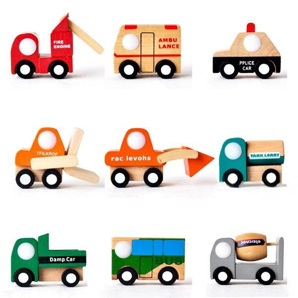 top popular Wholesale-1PC Funny Children Kid Baby Gift Educational Mini Car Vehicle Wooden Toy 12Types 2016 NEW ARRIVE 2019
