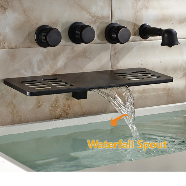 best selling Wholesale And Retail Luxury Modern Oil Rubbed Bronze Waterfall Bathroom Tub Faucet W  Hand Shower Sprayer Wall Mounted