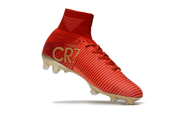 Mens Mercurial Superfly CR7 V AG FG Football Boots Cristiano Ronaldo High Ankle ACC Soccer Shoes Phantom IC TF Soccer Cleats