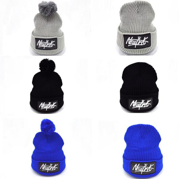 New Winter New York Lettres Beanie Chapeaux avec Pom Pom Ski Bonnets pour Hommes et Femmes Noir Bleu Rouge Gris Couleurs Mélange Ordre