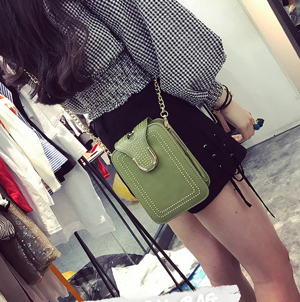 New women chain rivet phone bag lady fashion single shoulder messenger purse women casual small bag black/pink/green/grey/white color no291