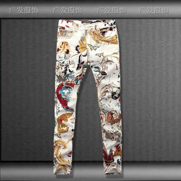 All'ingrosso- nuova farfalla pittura a olio cravatta tinta denim jeans per gli uomini, lavato casual slim stampa farfalla jeans uomo, taglia 28-36,