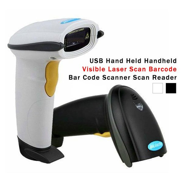 Wholesale- High Quality Portable USB Handheld Visible Laser Scan Barcode Bar Code Scanner Scan Reader Free Shipping