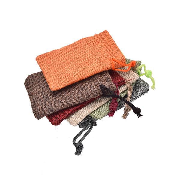 New 10pcs/lot Mini Jute Pouch linen Hessian hemp drawstring small gift packaging Bag Wedding ring jewelry packing pouch