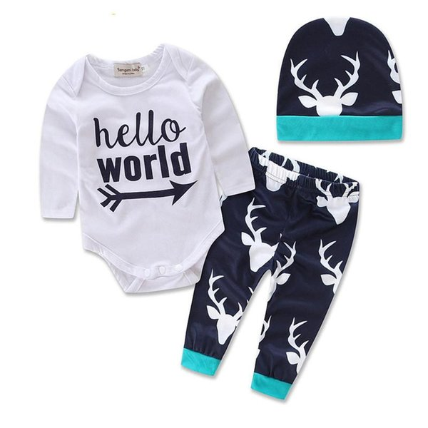 INS 3pcs Clothing Sets Spring Autumn Baby girl boy long sleeve shirt+trousers+hat Casual outfit cute suit