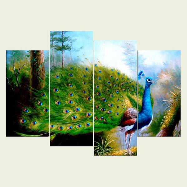 (Pas de cadre) série d'oiseaux HD toile impression 4 pcs Art mural peinture à l'huile texturé photos abstraites décor salon décoration