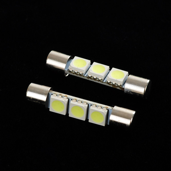 20Pcs LED Car Light Bulb 31mm 3SMD 6641 12V White Fuse LED Bulb Sun Visor Vanity Mirror Light Universal LED Lamp