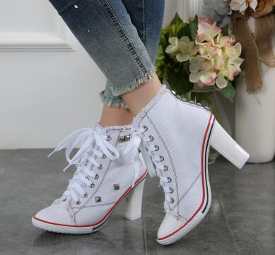 2016 New Arrival Autumn Canvas Ankle Boots High Heels casual pumps rivets sexy jeans Shoes Women Denim Canvas Free Shipping sale shop offer iFo8s