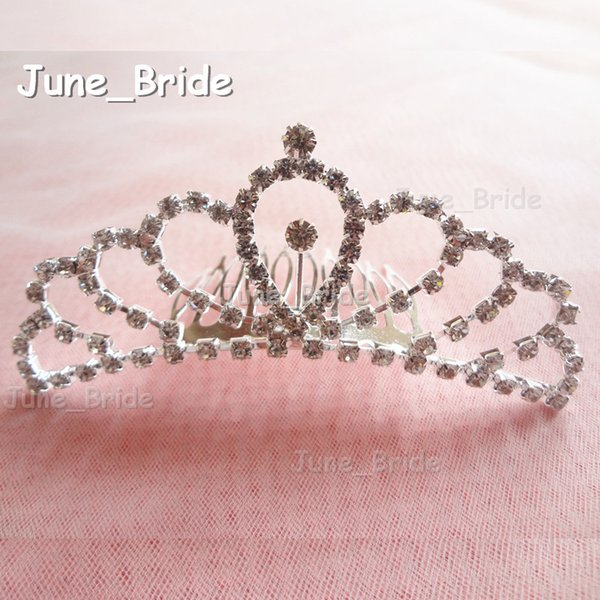 Real Photo Shinny Bridal Crown Glass Crystal Rhinestone Hair Accessory with Comb Unqiue Wedding Headwear Headpiece Free Shipping In Stock