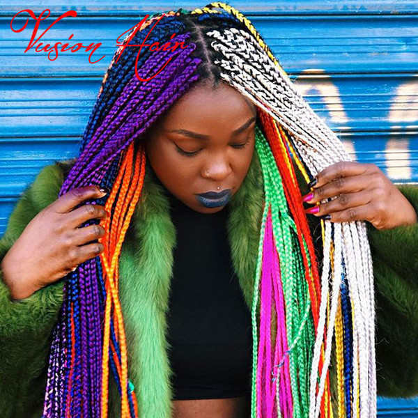 Solid Color Synthetic Braiding Hair Jumbo Braids Crochet Hair Extensions 24inch 100g/pack 100% Kanekalon Braids Hair Extension For Wholesale