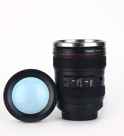 6th Generation stainless steel liner travel thermal Coffee camera lens mug cup 400ML Black White DHL Free CM002