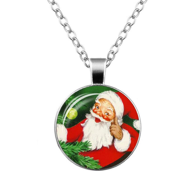 2018 Time gem necklace glass Santa Claus Sweater chain Necklace Girl Jewelry + Free shipping 358