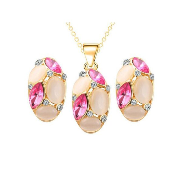 best selling Bridal Wedding Jewelry Sets 18K Gold Plated Opal Crystal Cluster Stud Earrings Pendant Necklace for Women