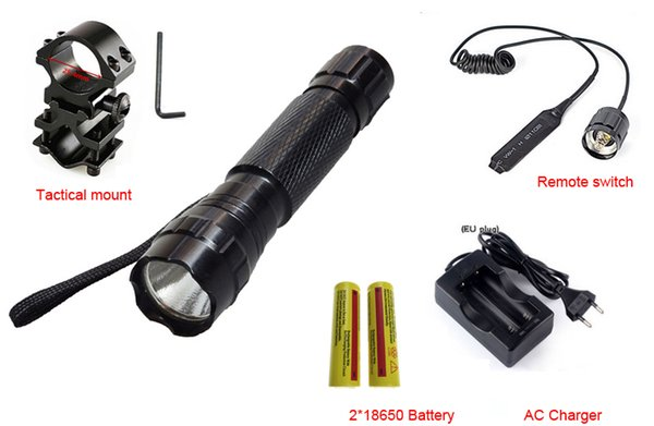 2000Lm XM-T6 LED 501B Tactical Flashlight Torch Flash Light with Pressure Switch Mount 18650 Battery Charger