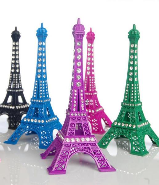 Venda quente 15 CM Cristal Rhinestone Torre Eiffel Modelo Liga Torre Eiffel Ofício do Metal para mesa de Casamento peça central