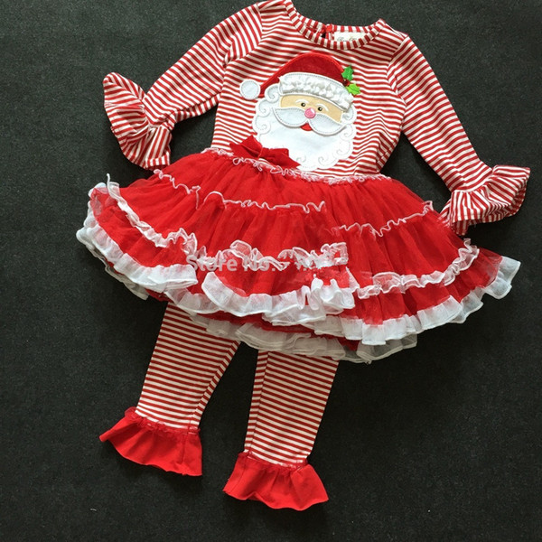 baby rare editions christmas set santa claus tutu dress red legging holiday outfit long sleeve top
