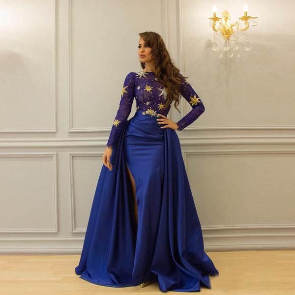 Luxury Royal Blue Beaded Stars Bling Bling Satin Floor Length Evening Dress Long Sleeves Detachable Skirt Saudi Arabia Women Gown