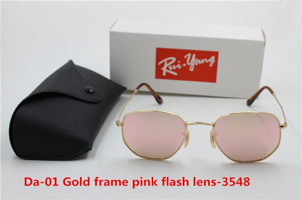 1pcs Brand 3548 fashionable retro metal circular sunglasses, male and female pink flash glass 5mm lens UV400 protection black case