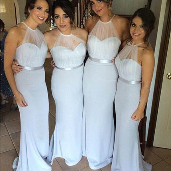 Elegant Fitted Bridemaids Dresses Sheer Tulle Halter Neck Bridesmaid Long Dress Sleeveless Mermaid Maid of Honor Gowns for Wedding Party